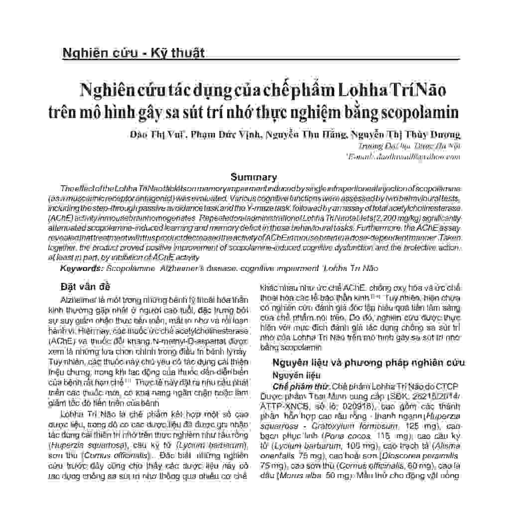Tăng tiết acetylcholine - giải pháp cải thiện lú lẫn, hay quên 1